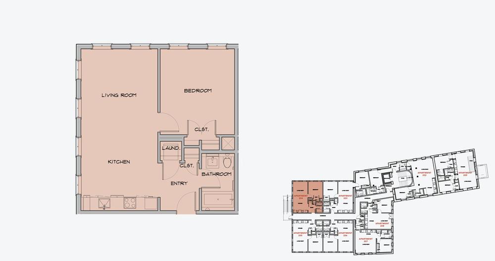 APARTMENT 204  1 BEDROOM, 1 BATH   APPLY NOW
