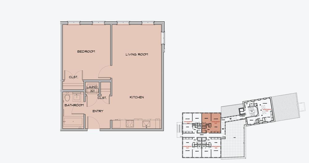 APARTMENT 303  1 BEDROOM, 1 BATH   APPLY NOW