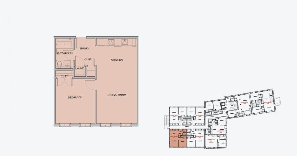 APARTMENT 205  1 BEDROOM, 1 BATH   APPLY NOW