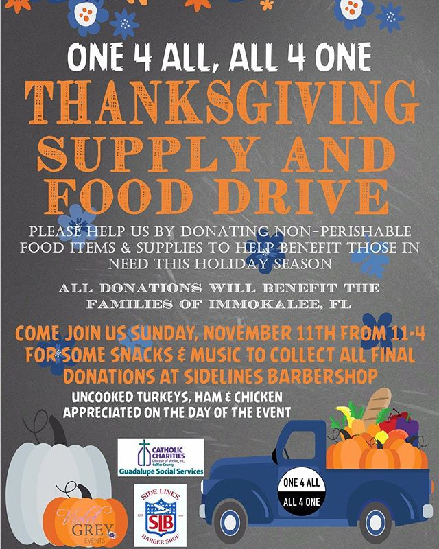 This month we will be partnering with a few groups to help provide Thanksgiving meals to families in Immokalee, Florida. Thanksgiving is a day to gather in unity, to reflect/share our victories as well as our struggles where we find strength and hope. On this day (just as we should everyday) we reflect on the gifts (family, friends, health) that bless our lives. We give thanks. By giving thanks we are choosing to extend ourselves and give to others that may not be as fortunate. If you are interested in joining us, we will be accepting donations all week. MUCH LOVE. ✨