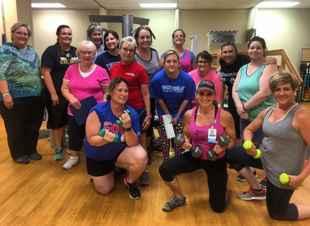 Brenda (front and center) with her Lift Like A Girl weight training class at Methodist Health Systems.