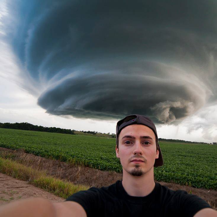 Evan Ludes while on a storm chase near Red Cloud, Nebraska (July 2015).