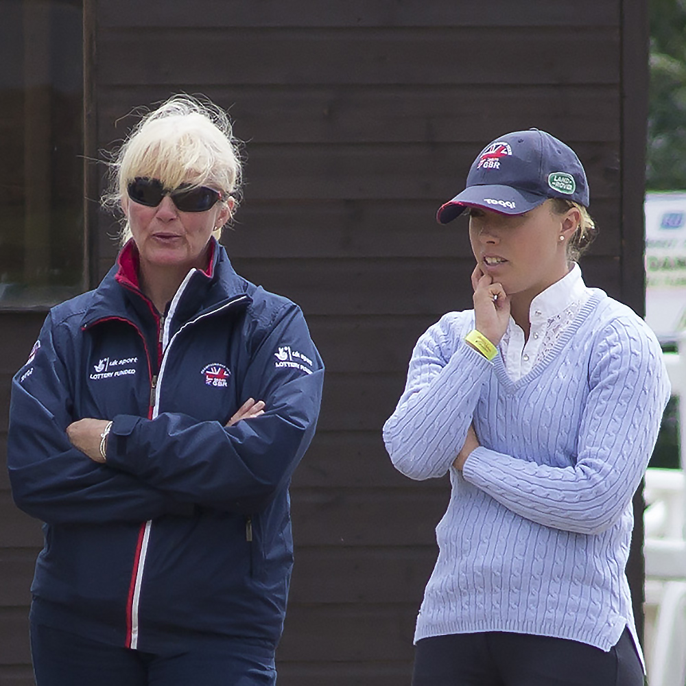Angela and Sophie viewing a test at Hartpury