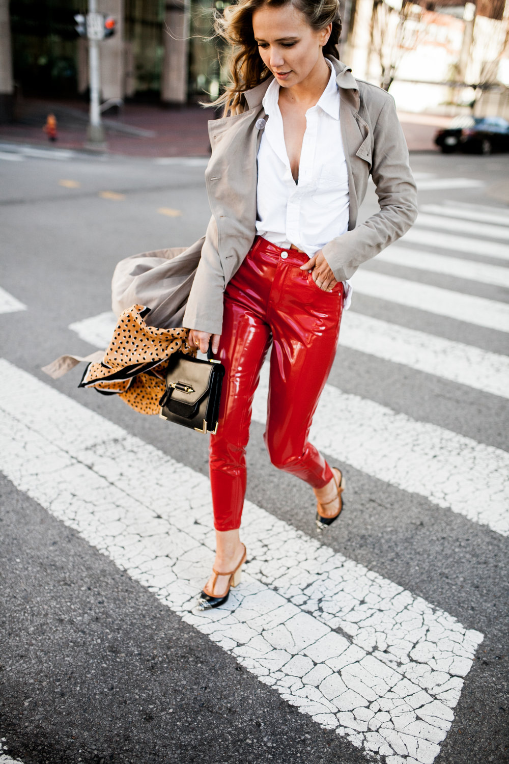 trench-coat-jcrew-white-button-down-red-vinyl-topshop-pants-coach-court-shoes-mackage-bag-hm-printed-scarf.jpg