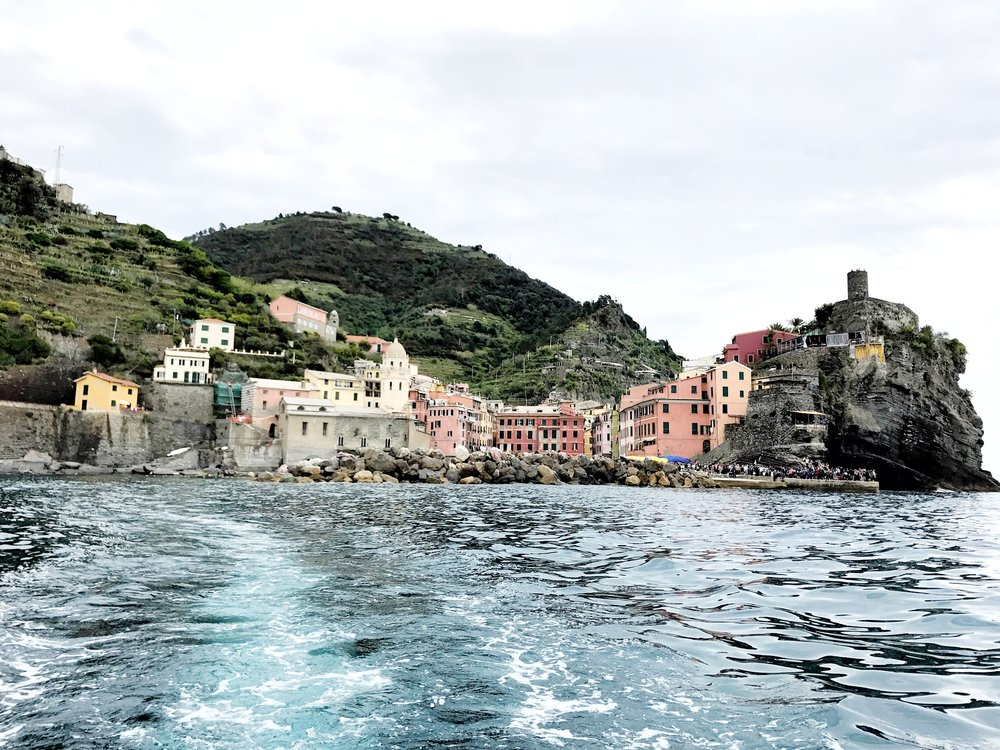 Taking a boat from Vernazza to Monterosso al Mare, Cinque Terre, Italy.