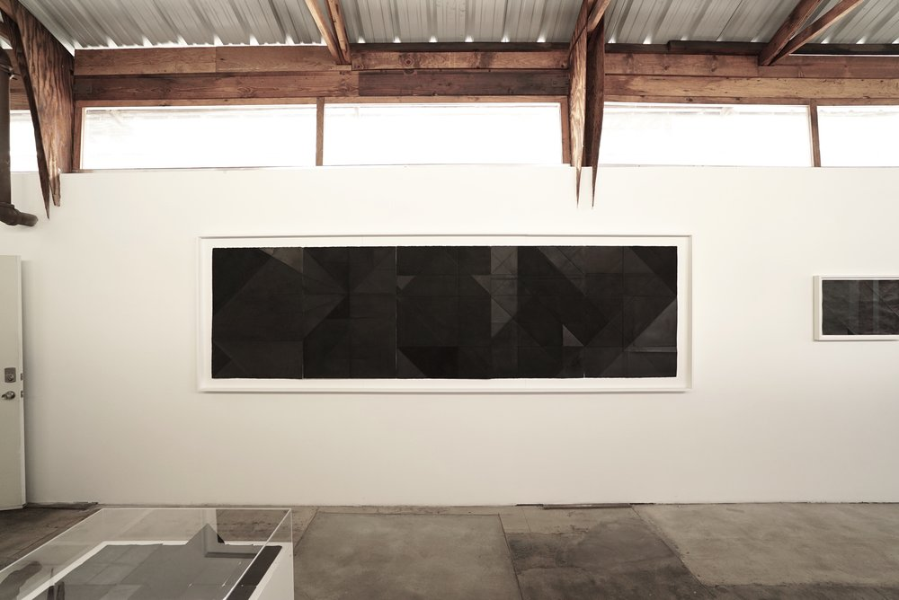 "Tectonic, 2018 Compressed Charcoal, Iron Oxide, Pigment, Oil-bar, Wax on paper  41.5 x 148""  Pentaptych"