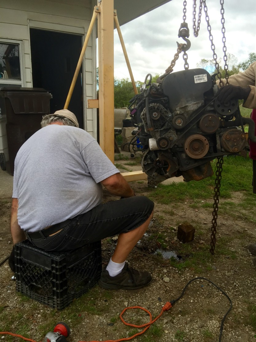 Not surprisingly, Al had a nice setup for his home garage. Here he is removing the Ford Focus transmission.
