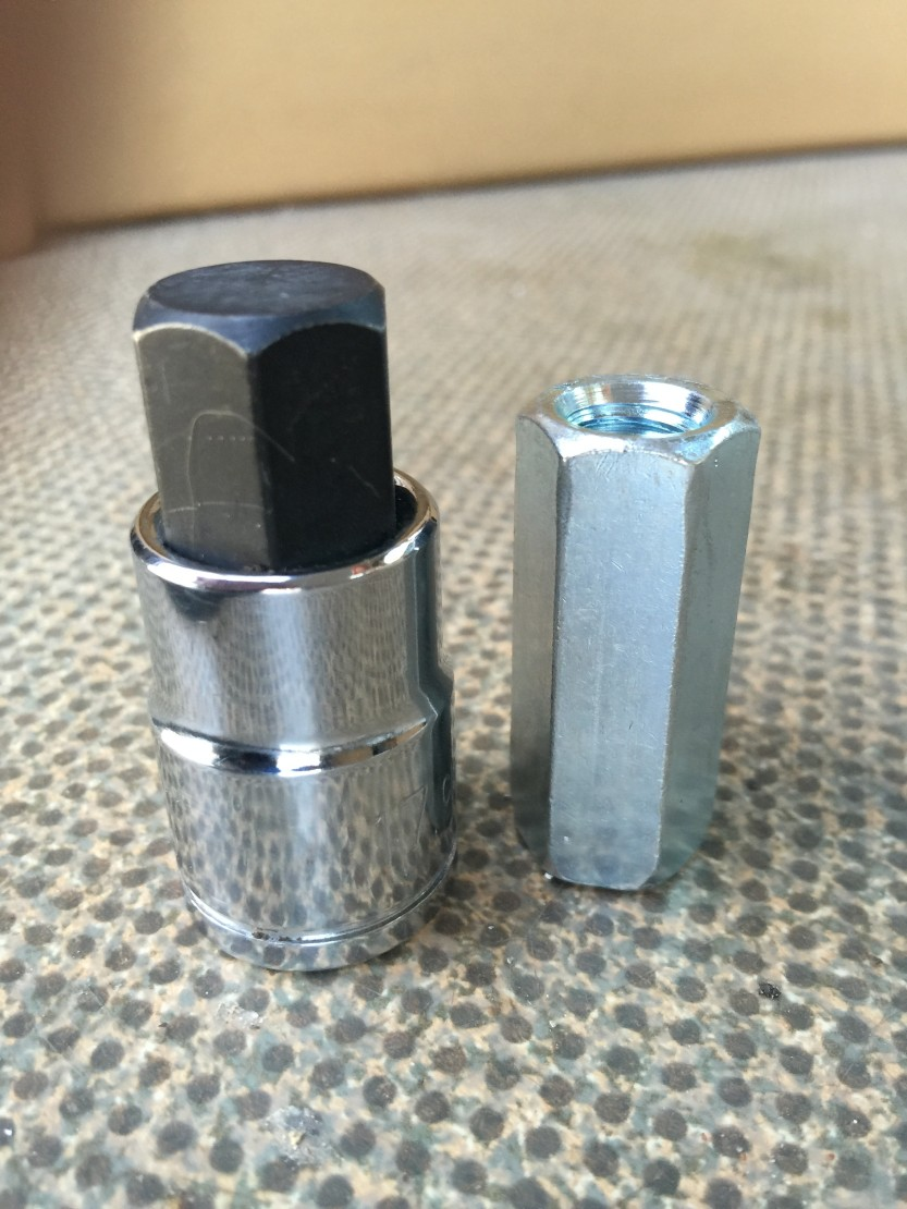 17 mm socket on left, rod coupling nut on right.