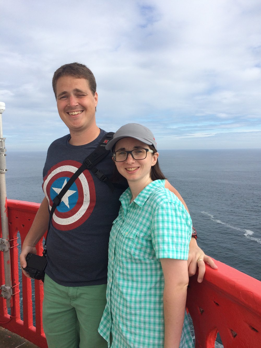 At the Lighthouse - A friendly stranger happily offered to take our photo at the top.  Works out way better than a selfie!