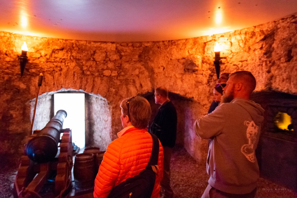 The Canon Room - We also did get to see the canon cellar and were treated to the explanation of how this room was used to ward off pirates using red hot canon balls for additional steam warfare.