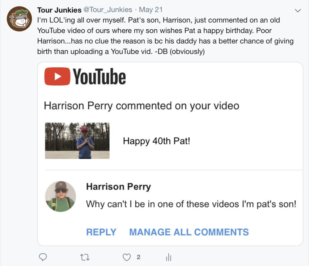 Pat's son literally begging anyone but his technologically challenged, Father, is the best! Love the desperation for TJ YouTube fame.