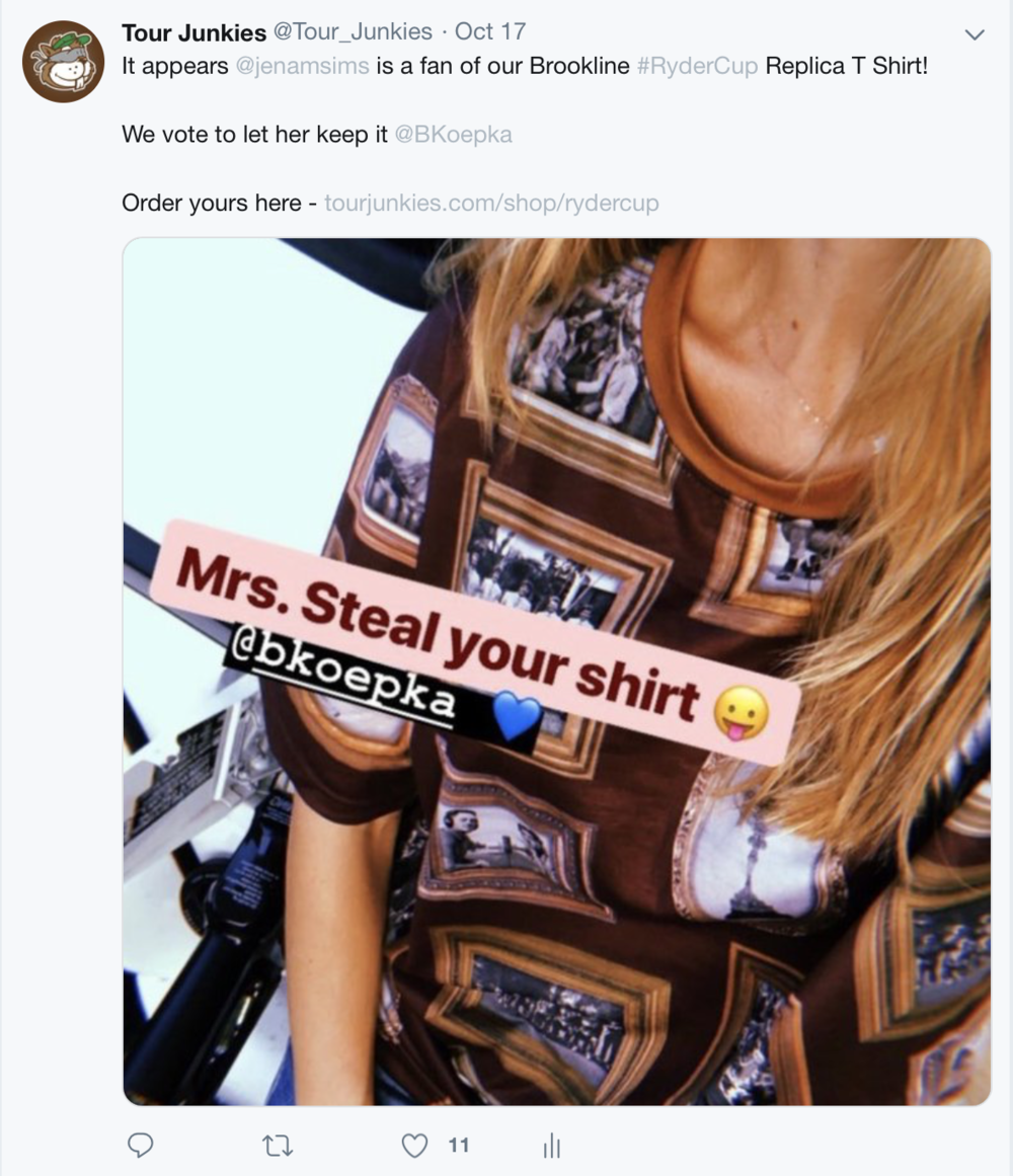 The only person we'll allow to steal Koepka's Brookline Replica TJ T Shirt is Jena Sims.