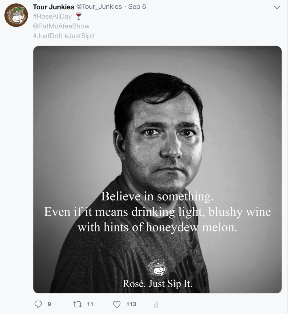 Our favorite tweet of the year. Still desperately seeking a Rosé sponsor for the Pod if you know anyone.