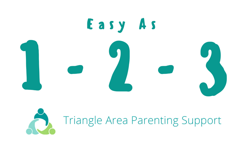 Image: Text reading Easy as 1 - 2 - 3; Triangle Area Parenting Support Logo.