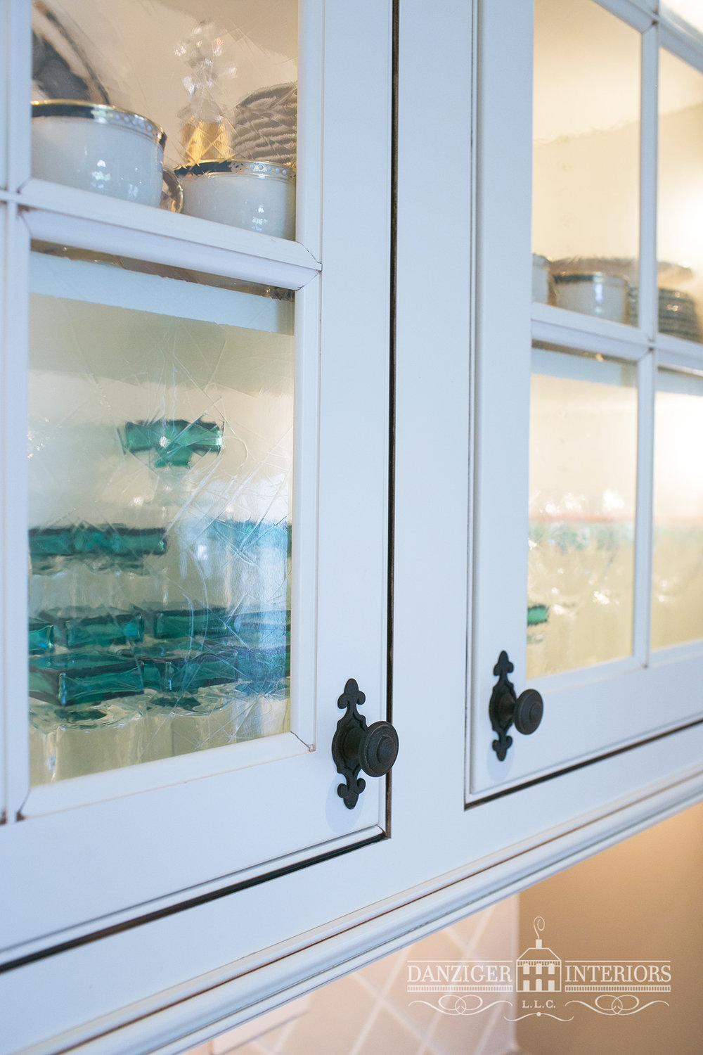 Cabinets with clear antique streaked glass