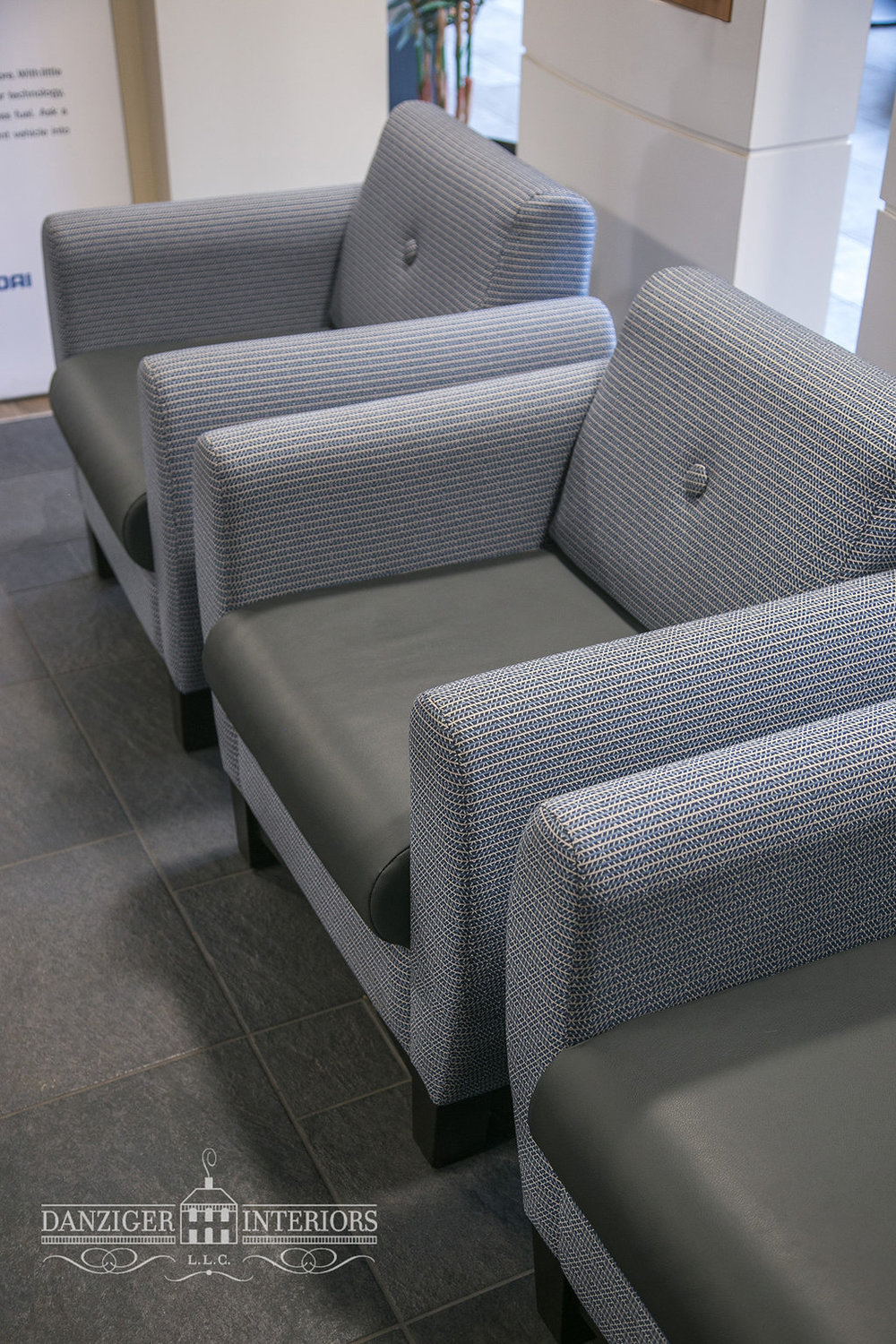 Upholstered chairs in fabric to withstand heavy use