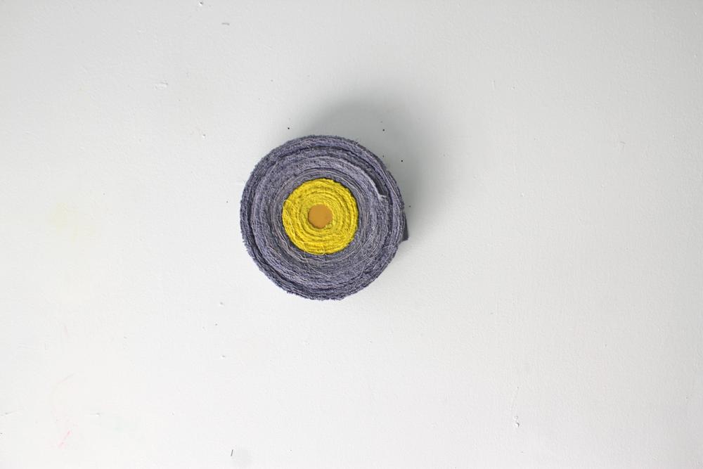 Sun   ,  2015  dyed canvas, thread, acrylic on wood
