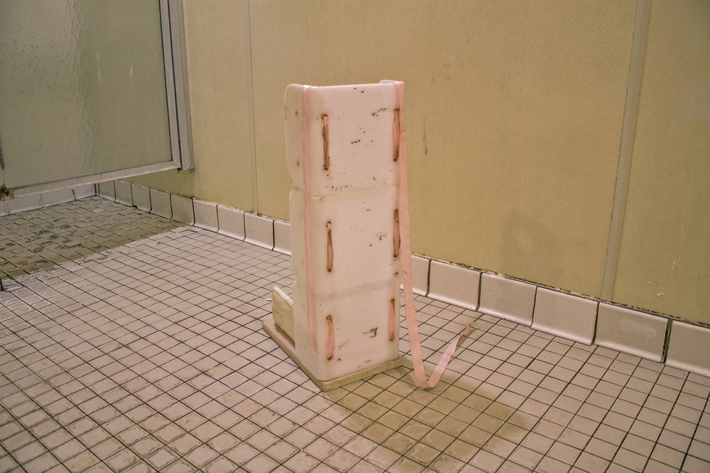 ribbon, plastic shower caddies, found cloth, thread, wood