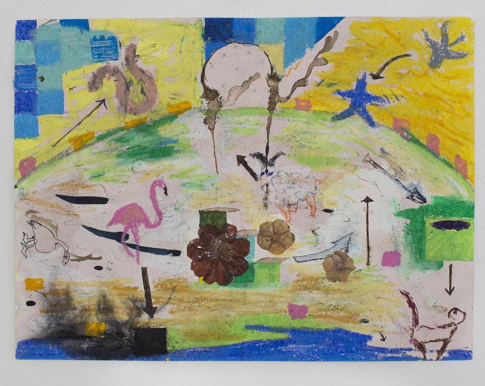 Teamwork  , 2016  ink, oil pastel, pressed flowers on paper