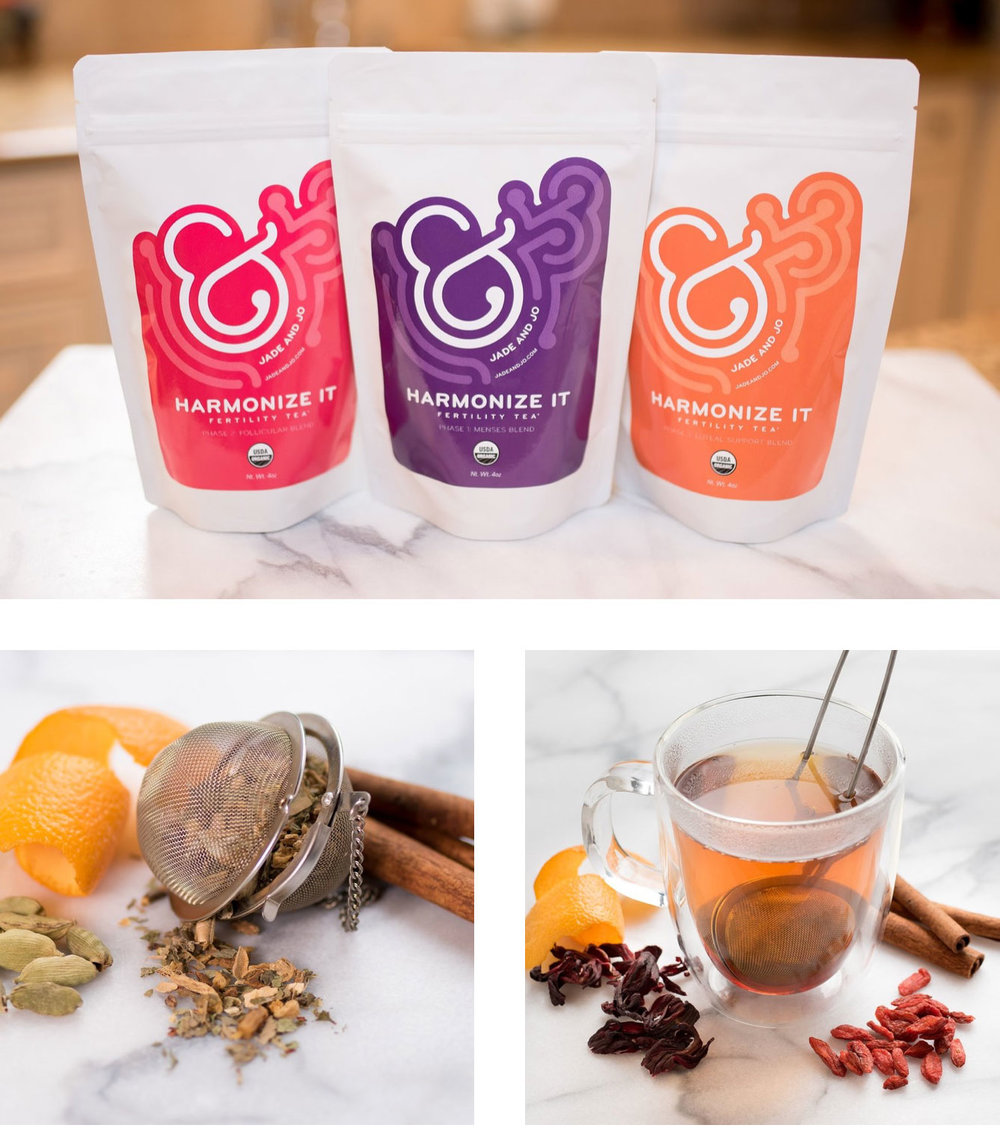HARMONIZE ITFERTILITY TEAS - Jade and Jo Harmonize It FertilityTeas utilize a unique phased approachto ensure you are drinking the right teaat the right time. Each blend containsingredients that are chosen specificallyto support the four distinctive phasesof your menstrual cycle.