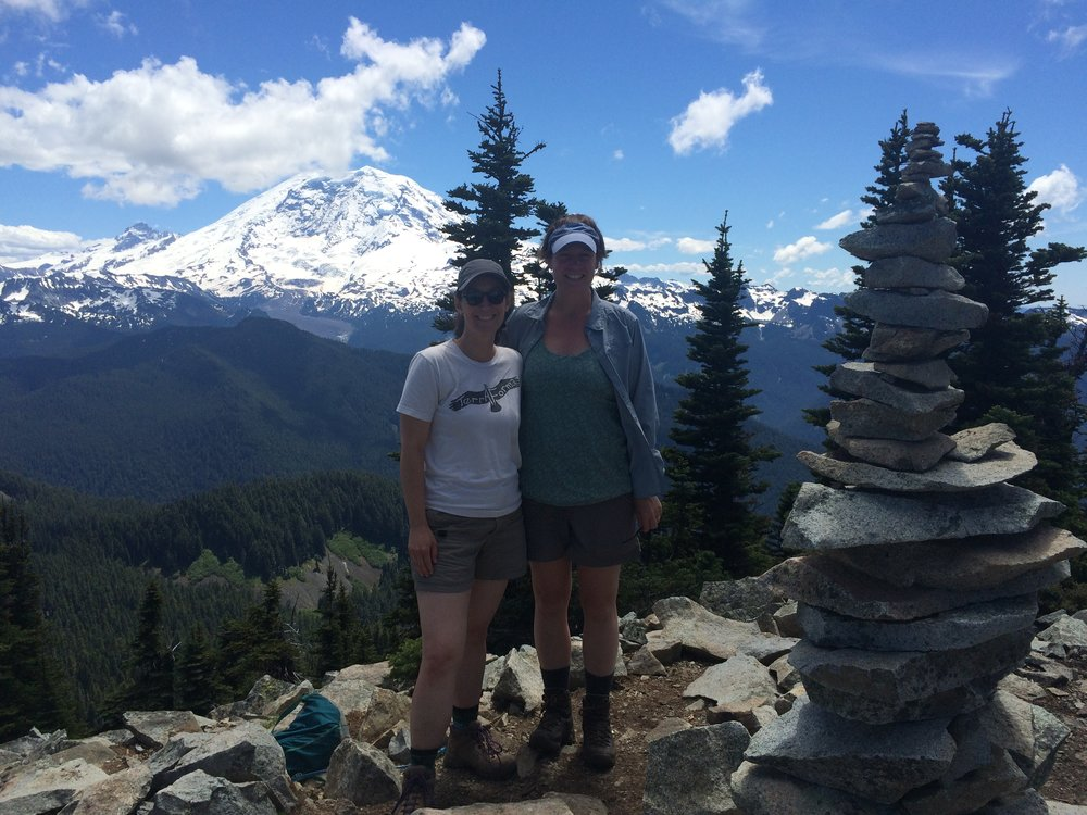 Enjoying a hike in the Mt Rainier area on a clear day with a good friend