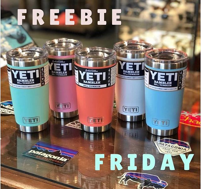 I T ' S  F R E E B I E  F R I D A Y we are giving away a FREE 20oz Yeti tumbler in your choice of color!! To enter you must:  1. Follow us  2. Like this post 3. Tag 3 friends & have them follow us too :) ** MUST pick up in store ** — Winner announced tomorrow!