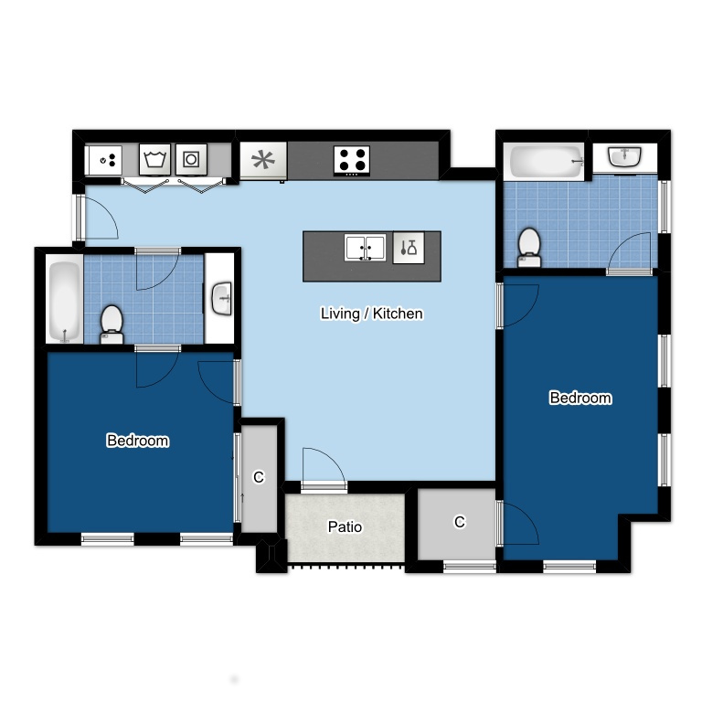 2 BED | 2 BATH | 875 SQ FT
