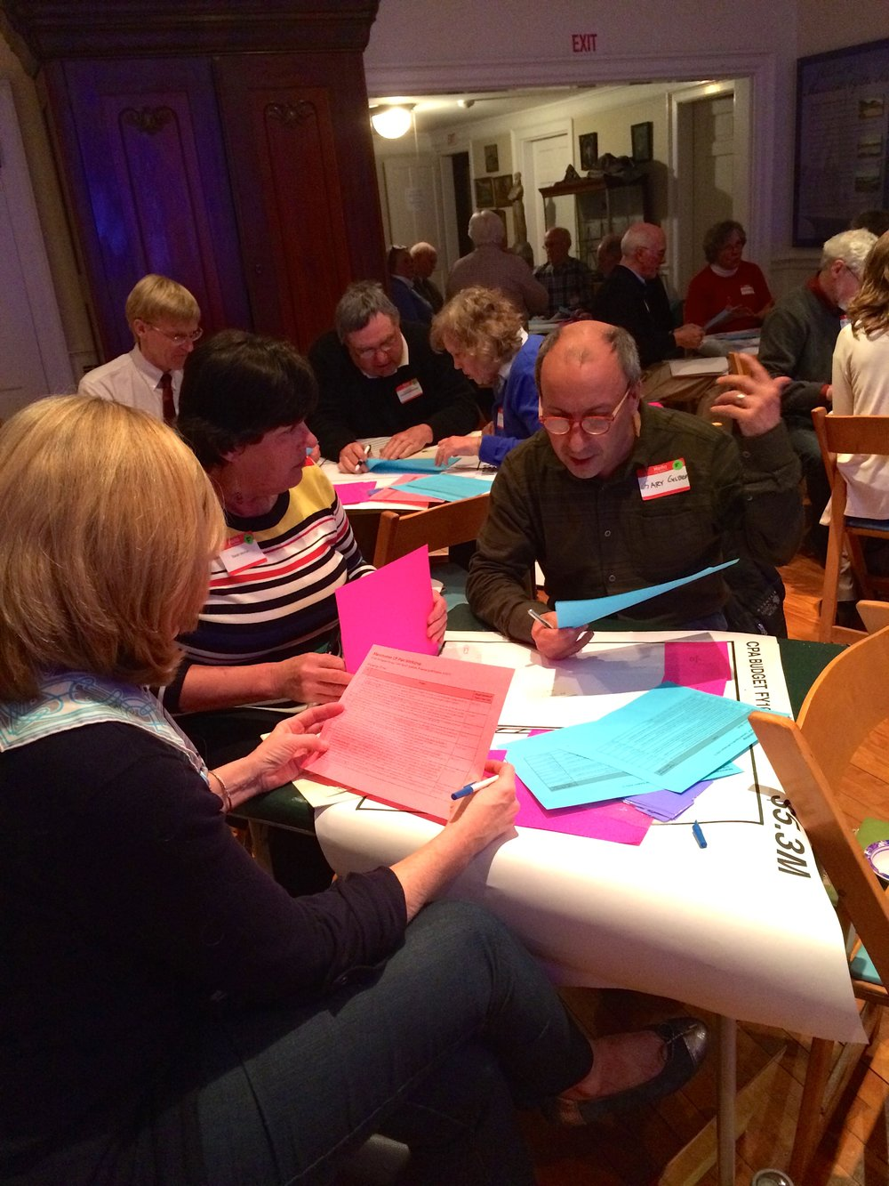 Community members working on JM Goldson's CPA Tetris exercise at the Manchester by the Sea workshop, April 13, 205