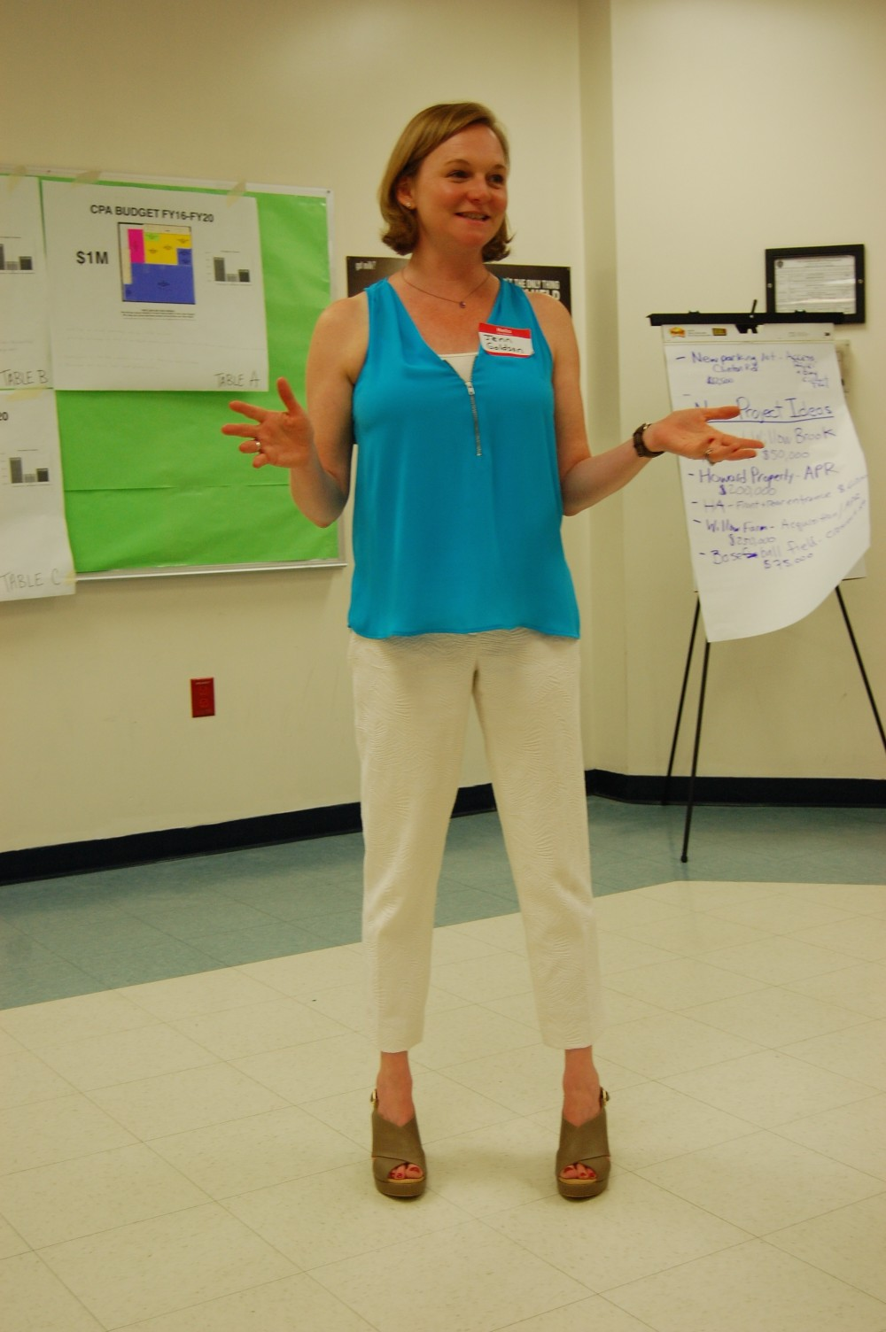 Jennifer Goldson, owner of JM Goldson, facilitating W. Bridgewater Community Workshop