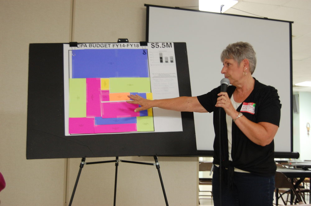 Bridgewater's CPC Chair, Marilee Kenney Hunt, presents a visual budget proposal for CPA funds