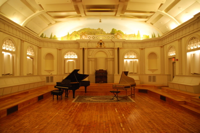 Interior of the auditorium on the third floor of the Masonic Building in Roslindale