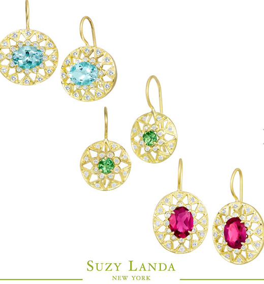 Suzy Landa has a beautiful colored gemstone, diamond & 18K Gold collection