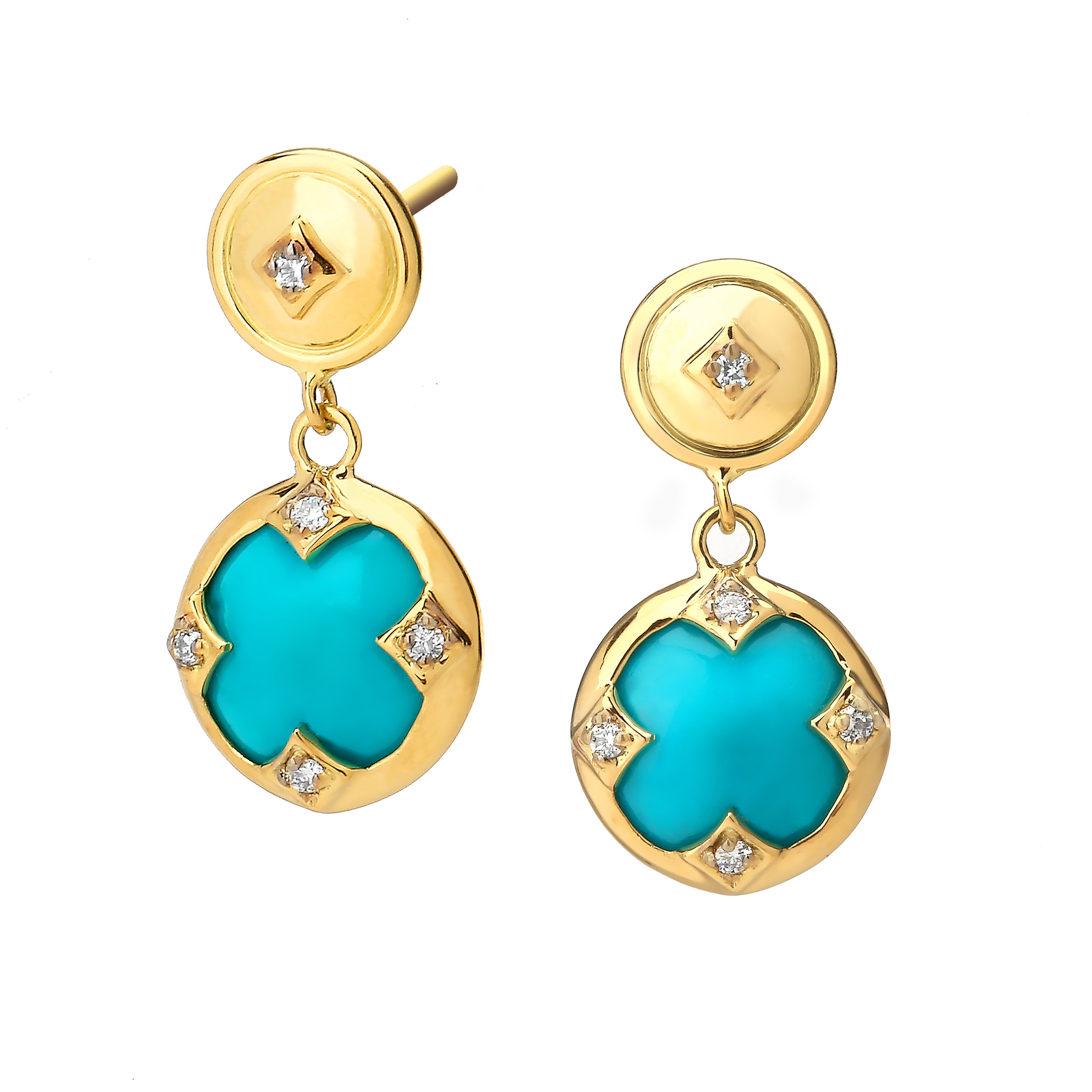 Turquoise And Diamond Earrings Shannon Green Collection