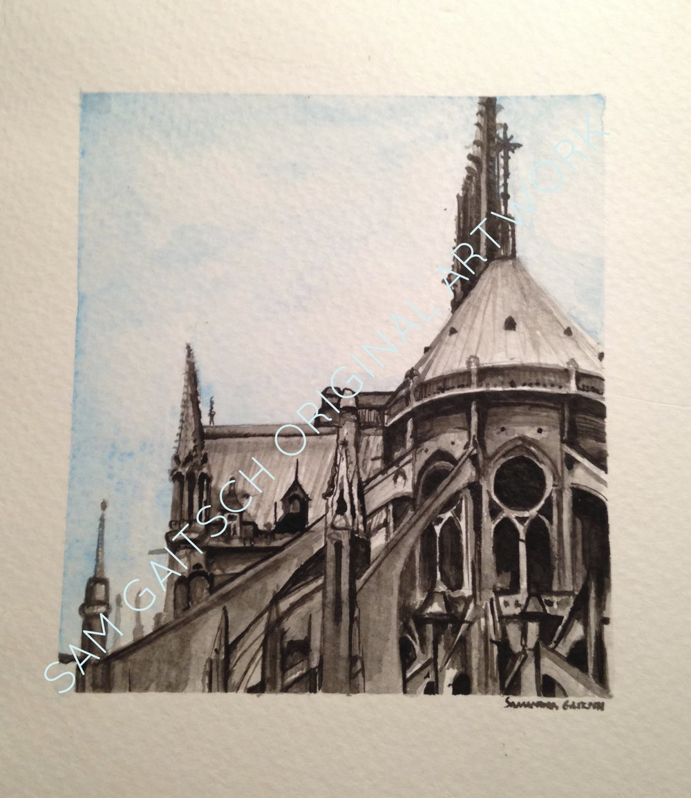 "Notre Dame (2013)  4""x4"" Watercolor  (1/5 in series)"