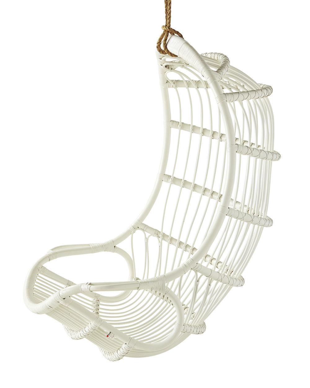 white rattan hanging chair