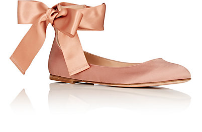 satin ankle-tie flats