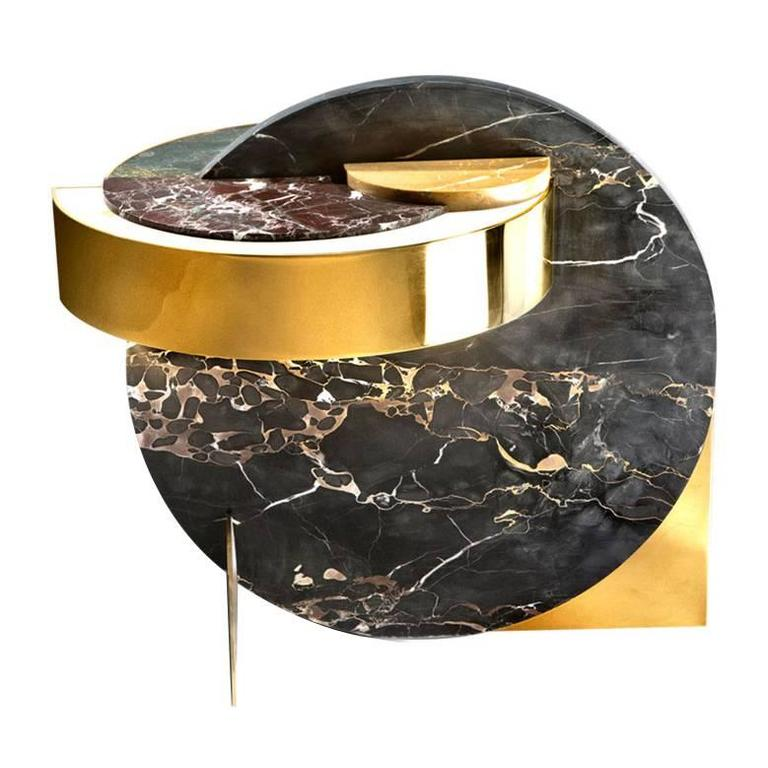 brass + marble side table