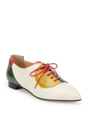 colorblock leather brogues