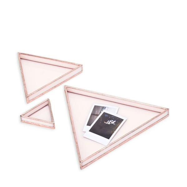 blush glass tray set
