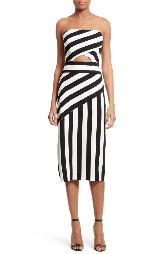 milly stripe midi dress