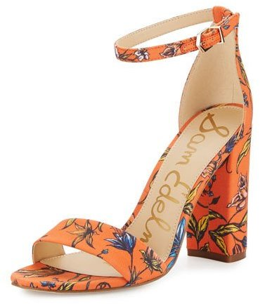 floral block heels