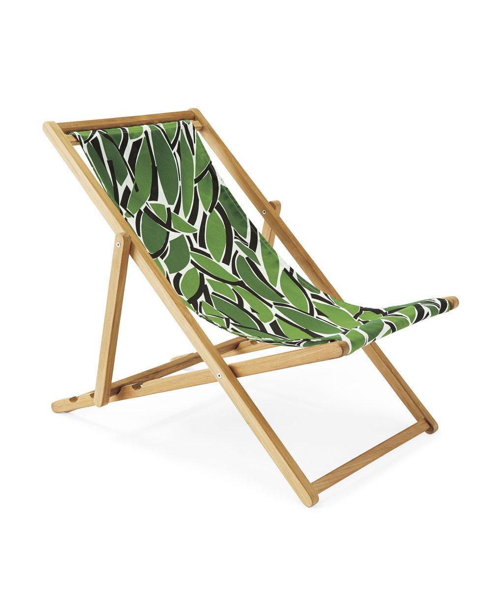 serena & lily teak sling chair