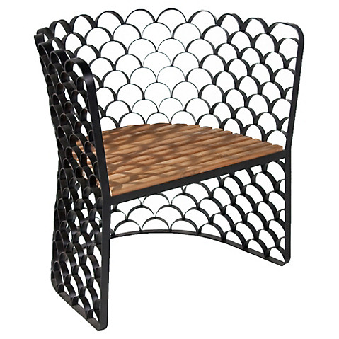 iron + teak chair