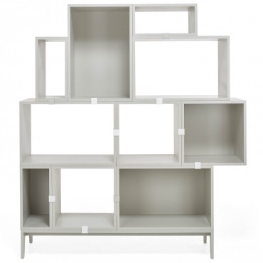 light grey bookshelf