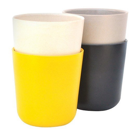grey + yellow tumblers