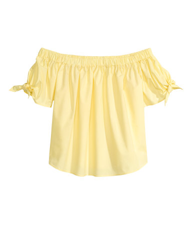 h&m off-shoulder yellow blouse