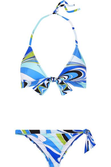 blue pucci print bikini