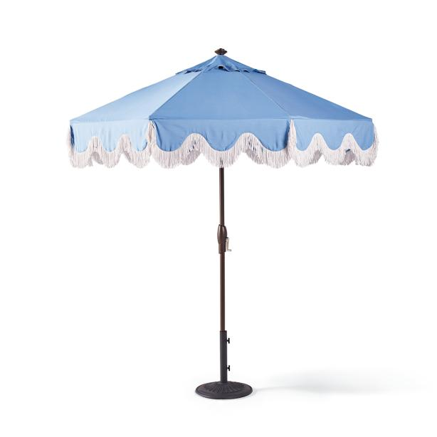 blue + white fringe umbrella