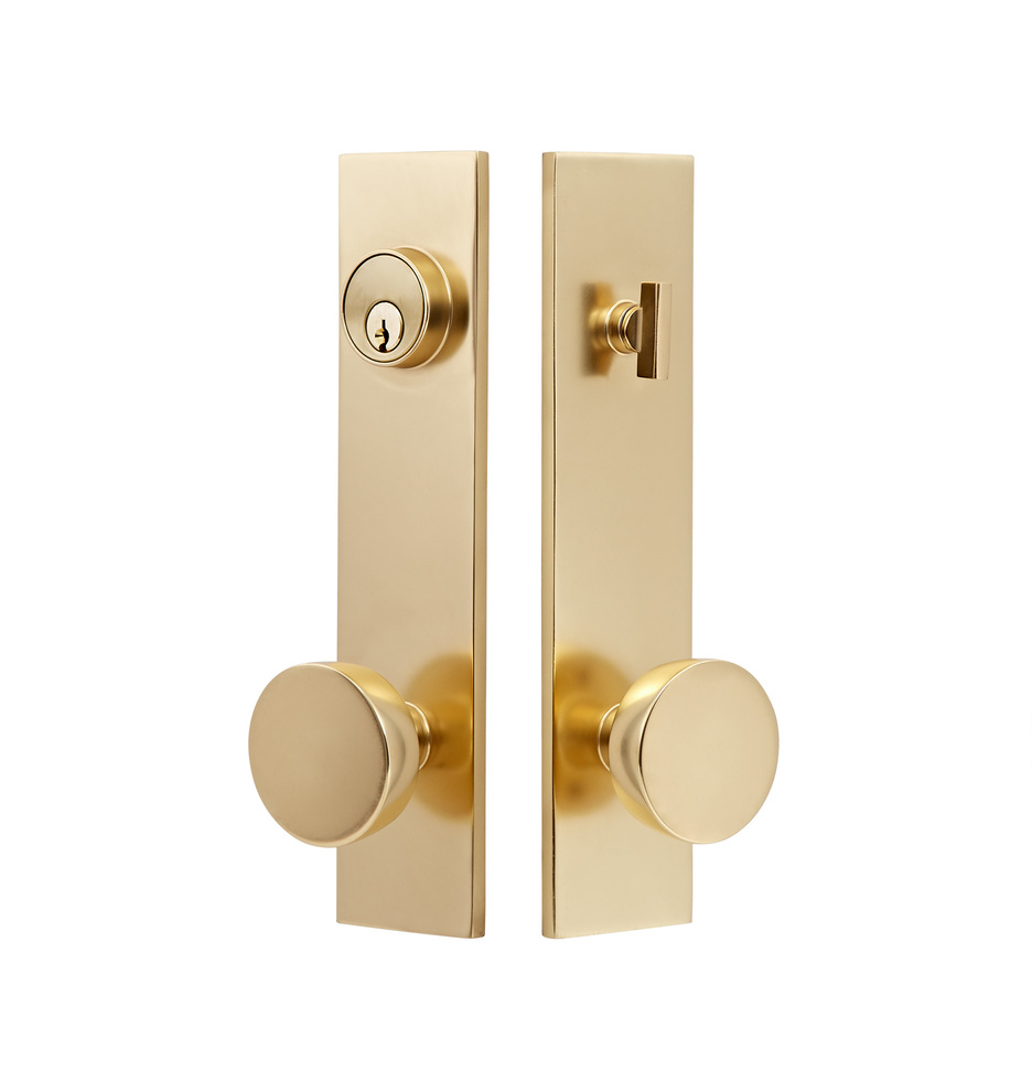aged brass exterior door knob set