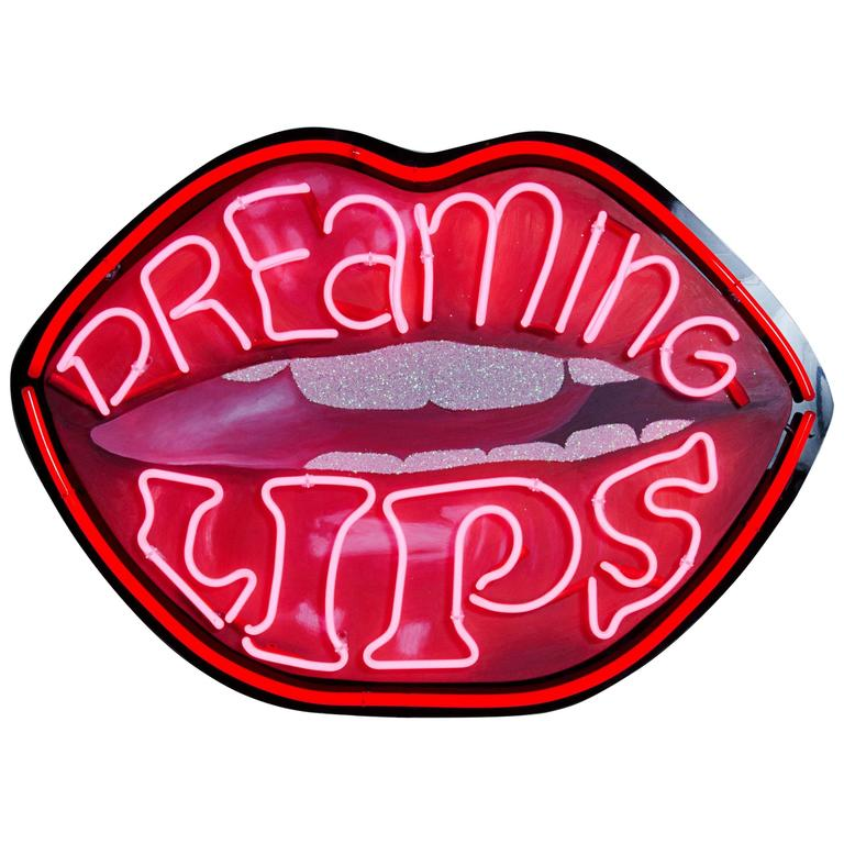 hand painted neon lips art